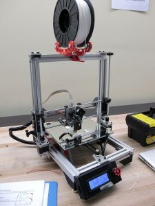 A FlexMendel 3D printer, operated by open-source software on an Arduino digital controller.
