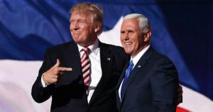 Trump pointing proudly to Pence