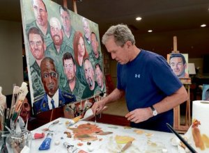 GW Bush in his art studio