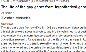 Screen shot of abstract of gay gene article on Pub Med