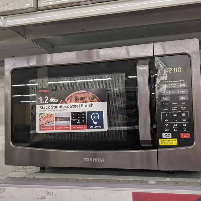 Microwave on store shelf