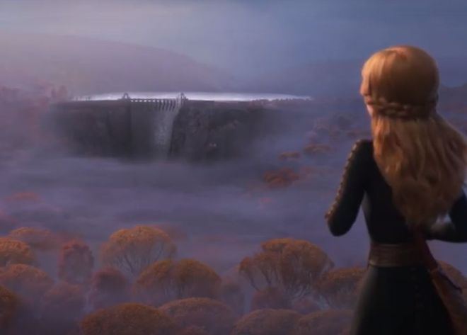 Anna regards the dam in Frozen 2