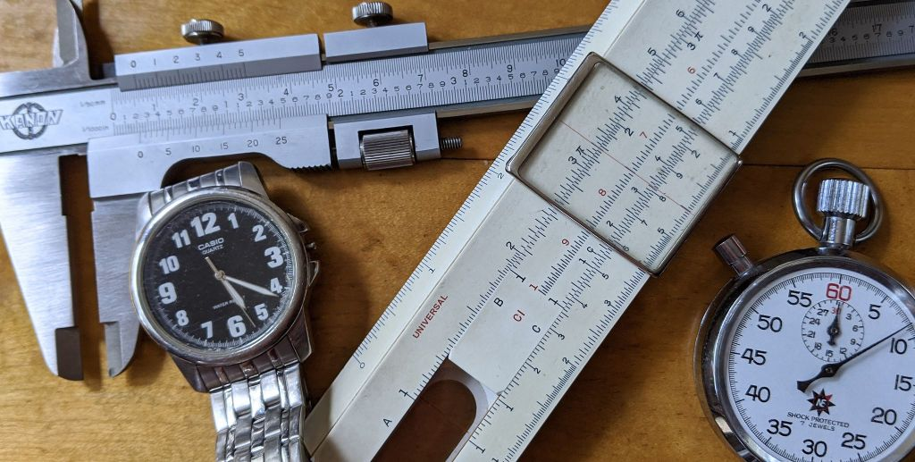 Vernier caliper analog watch slide rule mechanical stopwatch