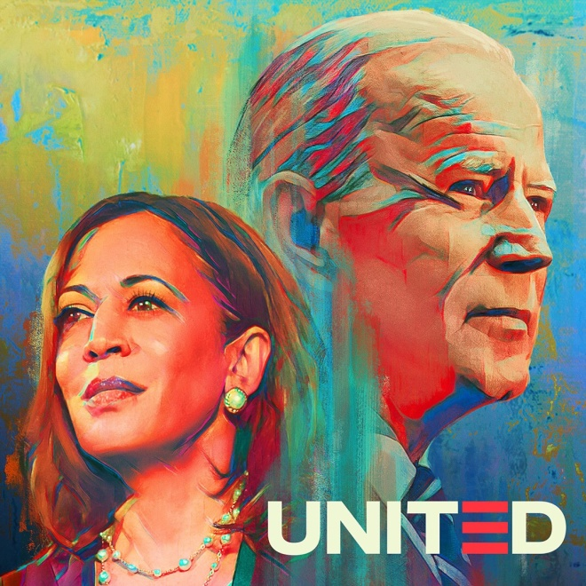 Kamala Harris and Joe Biden, with word UNITED in lower-right corner